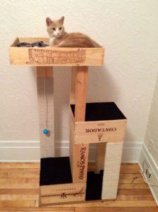 arbre à chat maison en bois